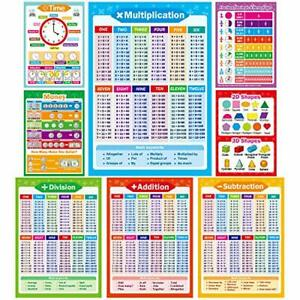 Yoklili 8 Educational Math Posters, Multiplication Chart Table Time Money Shapes