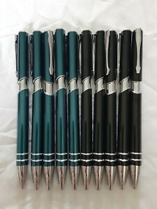 Lot of 10 Metal Black & Light blue Gel Pen Lot of 10 Black Ink
