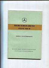 MERCEDES type 190 D ( modèle OM 621) : notice d'entretien en français  1958-1960
