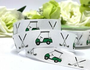 """Golf Ribbon Buggy Cake Fathers Day Gift Card Bow Birthday Golf Clubs Sport 3/4"""""""