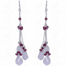 ROSE QUARTZ & RED GARNET GEMSTONE EARRINGS MADE IN .925 SOLID SILVER ES1255