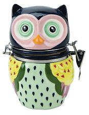 48077 Artsy Owl Hinged Jar Treat Snack Flour Sugar Tea Candy Canister Kitchen