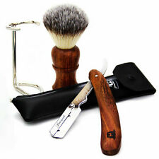 Handmade Luxury Wood Wet Shaving Starter Kit, Straight Razor, Brush, Stand
