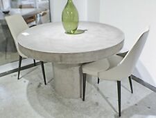 "60"" Round dining table solid concrete modern sealed indoor outdoor gray finish"