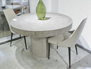 """60"""" Round dining table solid concrete modern sealed indoor outdoor gray finish"""