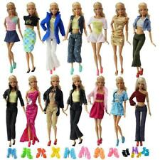 10 Set Barbie Doll Clothes Dresses Outfits Shoes Shirt Blouse Trousers Mix Skirt