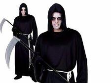 Mens Grim Reaper Costume Adults Scream Fancy Dress Outfit Scream Black Robe