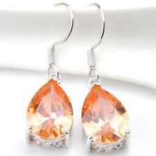 Pear Shaped Holiday Natural Champagne Topaz Silver Dangle Hook Earrings