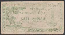 Indonesia 1 rupiah 1959 Prri, Vg, Pick S461 / Hp-28