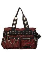 Gothic Rockabilly Emo Punk Black Red Stripes Handcuff Bag By Banned Apparel
