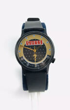 Vintage 1986 GUESS Stainless Steel Goldtone Watch Logo Gold Black