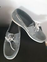 LL Bean Shoes Loafers Boat Shoes Leather Gray Grey Slip On Size 13 D Mens