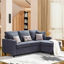 New  Dark Gray Sectional Sofa L-Shaped Couch W/Reversible Chaise for Small Space