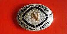 """Vintage Western  Silver Plate """"N"""" Belt Buckle"""