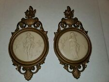 "Syroco Homco Wall Plaques Ancient Greek Goddess #4056 Pair 2 Vintage 14.5"" Tall"