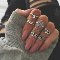 7PCS/1Set Midi Finger Knuckle Ring Vintage Punk Boho Knuckle RingsWomenJeweBLUS
