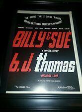 B.J. Thomas Billy & Sue Rare Original Promo Poster Ad Framed!