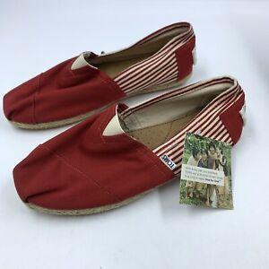 Toms Mens 10 Shoe University Stripe Rope Slip On Red Casual Comfortable Jute NEW