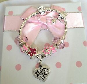 Personalised Girls big sister daughter sparkly charm bracelet in Gift Box