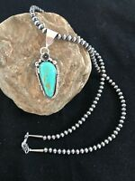 STUNNING Navajo Pearls Sterling Silver Turquoise #8 Necklace Yazzie Pendant 1348