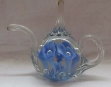 ST CLAIR GLASS TEA POT SHAPE PAPERWEIGHT OR RING HOLDER BLUE AND CRYSTAL