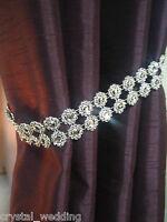 pair (x2) Of Diamante Flower Effect Crystal curtain Tie Backs   NO STONES