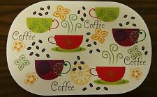 "Set of 4 Kitchen Deluxe Vinyl NON CLEAR Placemats (18"" x 12"") COFFEE"