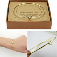 Fashion Women Gold heart charm chain bead bangle Bracelet Girls Jewelry Gift New