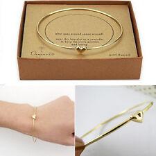 Fashion Women Gold heart charm chain bead bangle Bracelet Girls Jewelry Gift New