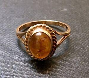 Gorgeous 9 Carat Gold & Fossilised Amber Dress Ring, London 1980, Size M 1/2