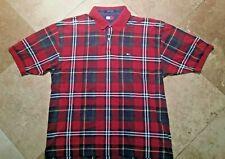 Tommy Hilfiger Short Sleeve Polo Golf Shirt 100% Cotton Plaid XL