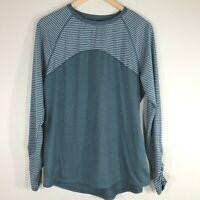 Avia Womens T Shirt Top Size M 8-10 Long Sleeve Heather Blue Green White Stripe