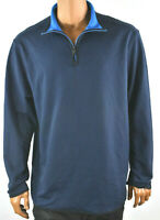 DKNY Mens Sweat Shirt Jacket XXL New 1/4 Zip Collared Long Sleeves Pullover Blue