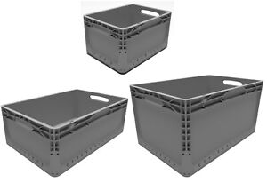 GREY Euro Stacking Heavy Duty Plastic Storage Industrial Container Boxes Crates