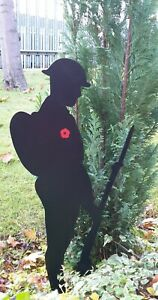 Metal Soldier Silhouette -  Spray painted 2ft  with poppy - Special Edition
