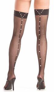 Studded Fishnet Thigh Highs Back Seam Stay Up Stockings Hosiery Black BW785