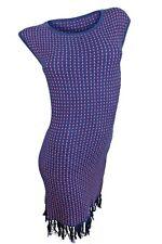 NWT Trina Turk Dress Knit Shift Sweater Navy Blue & Coral Pink Fringe Medium