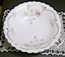 beautiful  porcelain centerpiece serving bowl gold 4 leaf clover - flower design