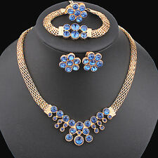 Women's Creative Rhinestone Chain Choker Necklace Bracelet Earrings Ring Set