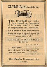 1919 Vintage DAIMLER 1920 Sleeve Valve Models Automobile Classic CAR Print AD