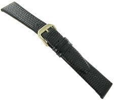 17mm Kreisler Black Lizard Grain Genuine Leather Mens Watch Band Regular