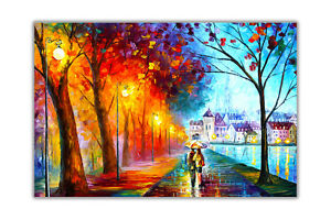 AT54378D City By The Lake By Leonid Afremov Poster Art Print Premium Gloss Paper