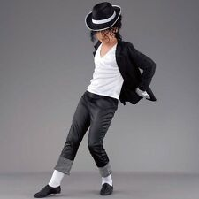 Medium Black Boys Superstar Costume - Fancy Dress Michael Jackson Pop Star 1980s