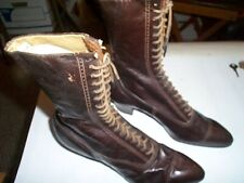 ANTIQUE VICTORIAN Roberts John LADIES Brown LEATHER LACE UP SHOES BOOTS ST LOUIS