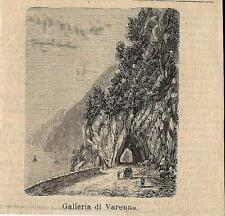 Stampa antica VARENNA veduta gallerie Lecco Lago di Como 1884 Old antique print