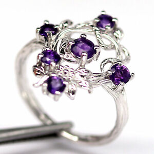 NATURAL 4 mm. ROUND PURPLE AMETHYST RING 925 STERLING SILVER SIZE 6.75