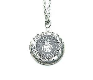 Handmade Oxidized Silver St. Christopher Locket Necklace