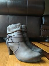 Pikolinos Womens Short Gray Leather Strappy Heel Boots Booties SIZE 39 US 8.5-9