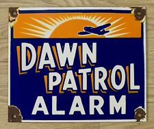 "Vintage Dawn Patrol Alarm 12""x10"" Porcelain Enamel Sign."