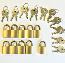 LOT of 10pcs KEY ALIKE small padlocks, Rare brass shackle!! one open all cabinet